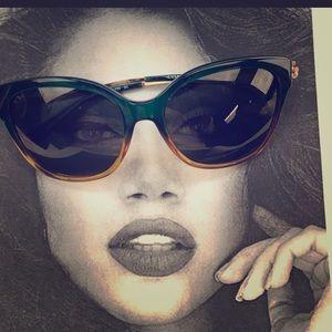 Coach Green Mustard Gradient Sunglasses; w/case